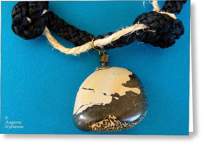 Stone Jewelry Greeting Cards - Aphrodite Melainis Necklace Greeting Card by Augusta Stylianou
