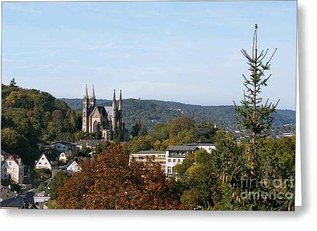 Town Mixed Media Greeting Cards - Apollinaris church in Remagen Germany Greeting Card by Design Windmill