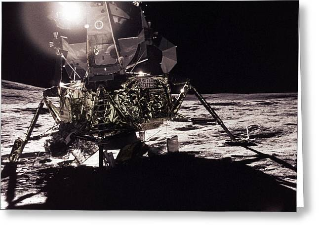 Historic Ship Greeting Cards - Apollo 17 Moon Landing Greeting Card by Science Source