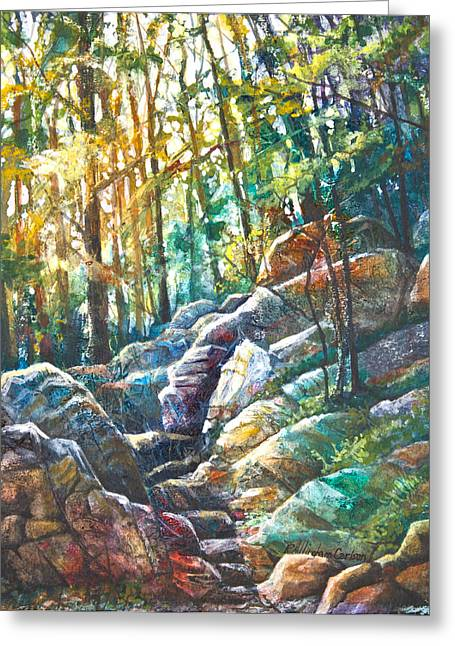 Hike Mixed Media Greeting Cards - Appalachian Trail Up Mt. Tammany Greeting Card by Patricia Allingham Carlson