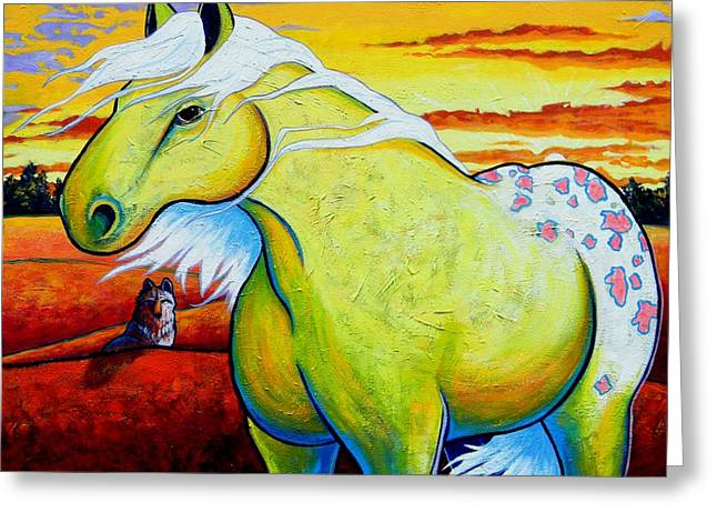 Lone Horse Greeting Cards - Appaloosa Dawn Greeting Card by Joe  Triano