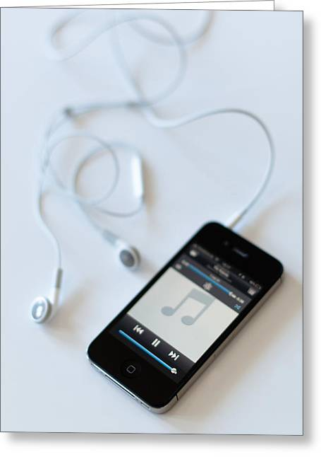 Walkman Greeting Cards - Apple iPhone 4s with audioplayer and earphones Greeting Card by Frank Gaertner