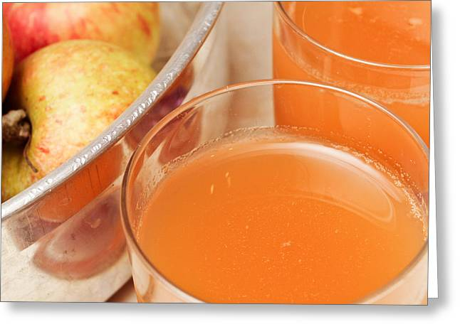 Squeeze Greeting Cards - Apple juice Greeting Card by Tom Gowanlock