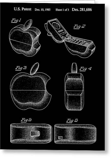 Apple Phone Patent 1985 - Black Greeting Card by Stephen Younts