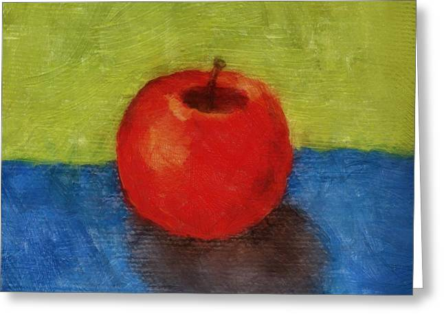 Tabletop Digital Art Greeting Cards - Apple with Green and Blue Greeting Card by Michelle Calkins