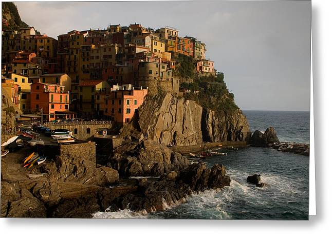 Historic Home Greeting Cards - Approaching Storm Manarola Italy Greeting Card by Cliff Wassmann
