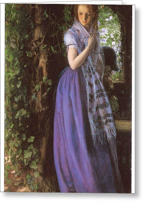 Woman In A Dress Greeting Cards - April Love Greeting Card by Arthur Hughes