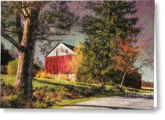 Barn Digital Greeting Cards - April Showers Greeting Card by Lois Bryan