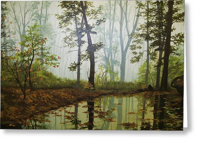Trees Reflecting In Water Paintings Greeting Cards - Aqua Greeting Card by Carol Bitz