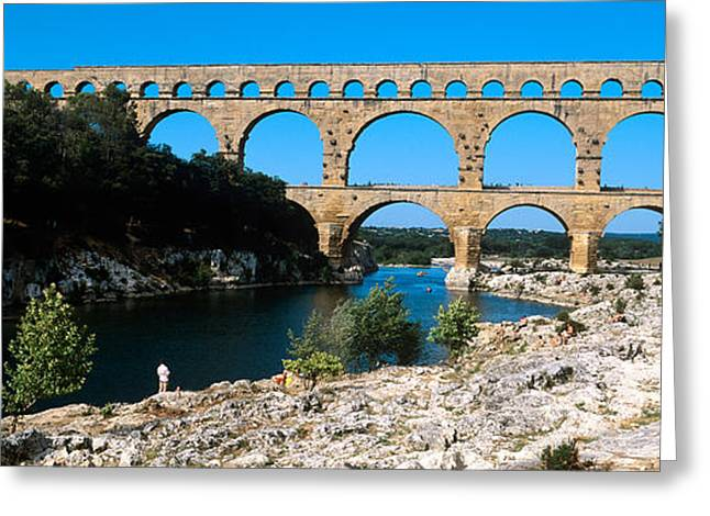Languedoc Greeting Cards - Aqueduct Across A River, Pont Du Gard Greeting Card by Panoramic Images