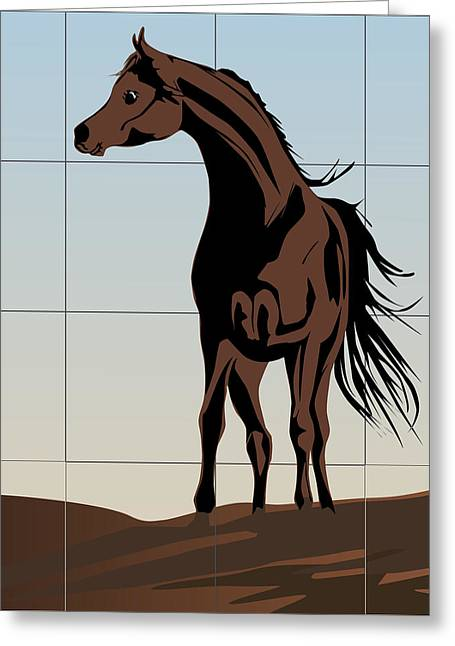 Dressing Room Digital Art Greeting Cards - Arabic horse Greeting Card by Roby Marelly