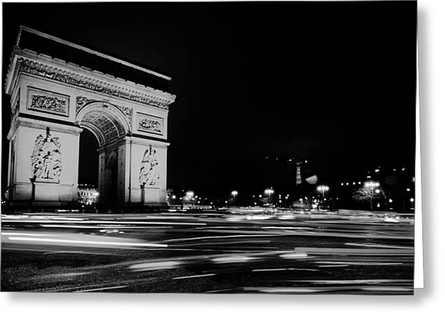 Arc De Triomphe At Night Greeting Card by Mountain Dreams