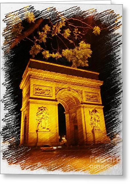 Parisienne Mixed Media Greeting Cards - Arc de Triomphe Greeting Card by John Malone