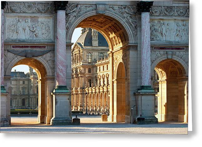 Arc Du Triomphe Du Carrousel With Musee Greeting Card by Brian Jannsen