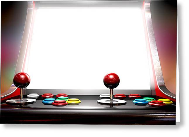 Console Greeting Cards - Arcade Game With Illuminated Screen Greeting Card by Allan Swart