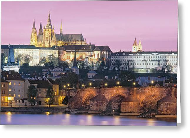 Vltava Greeting Cards - Arch Bridge Across A River, Charles Greeting Card by Panoramic Images