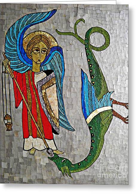 Archangel Greeting Cards - Archangel Michael and the Dragon    Greeting Card by Sarah Loft