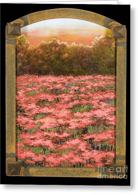Arched Morning Orange Poppy Field W Frame Greeting Card by Vic  Mastis