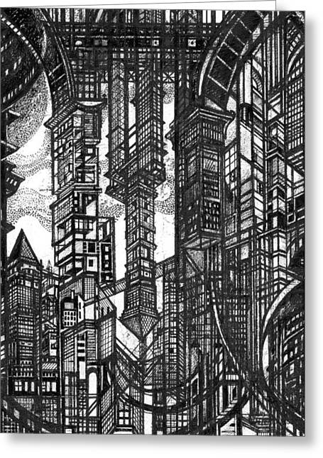 By Myself Greeting Cards - Archictectural Utopia 1 fragment Greeting Card by Serge Yudin