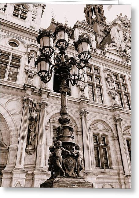 Night Lamp Greeting Cards - Ornate Lamp Post Around The Hotel De Ville In Paris France Greeting Card by Richard Rosenshein