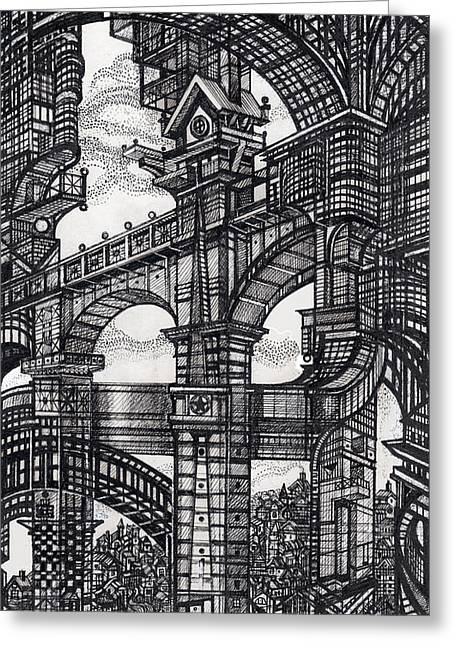 Abstractions Drawings Greeting Cards - Architectural Utopia 5 fragment Greeting Card by Serge Yudin
