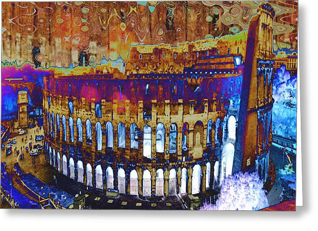 Civilization Mixed Media Greeting Cards - Architecture and Ruined landmarks of Europe Digital painting finished touches by NavinJoshi Greeting Card by Navin Joshi
