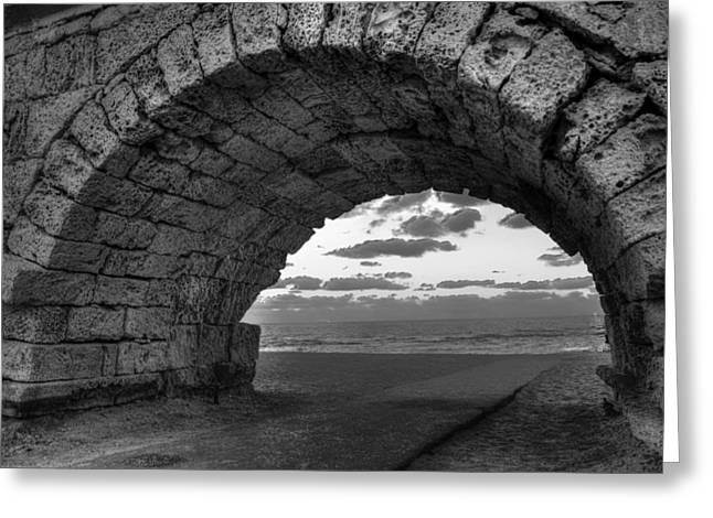 Sidewalks. Arches Greeting Cards - Archway to the Sea - India Greeting Card by Mountain Dreams