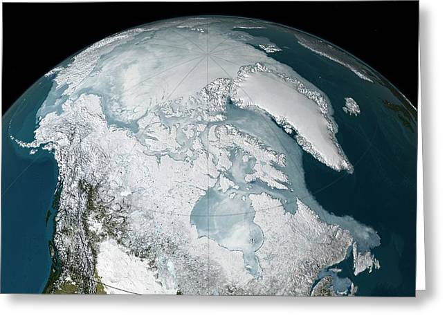 Arctic Sea Ice Record Low Maximum Greeting Card by Nasa's Scientific Visualization Studio