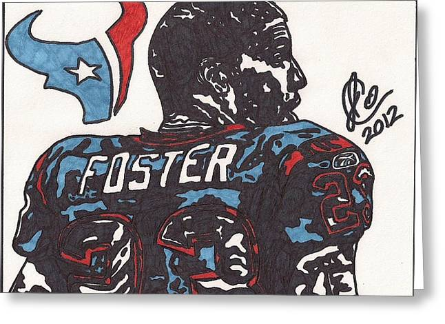 Arian Foster Greeting Card by Jeremiah Colley