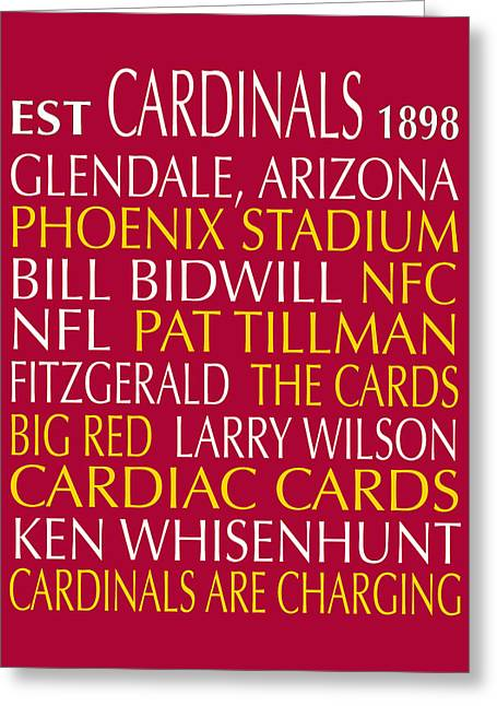 Football Words Greeting Cards - Arizona Cardinals Greeting Card by Jaime Friedman