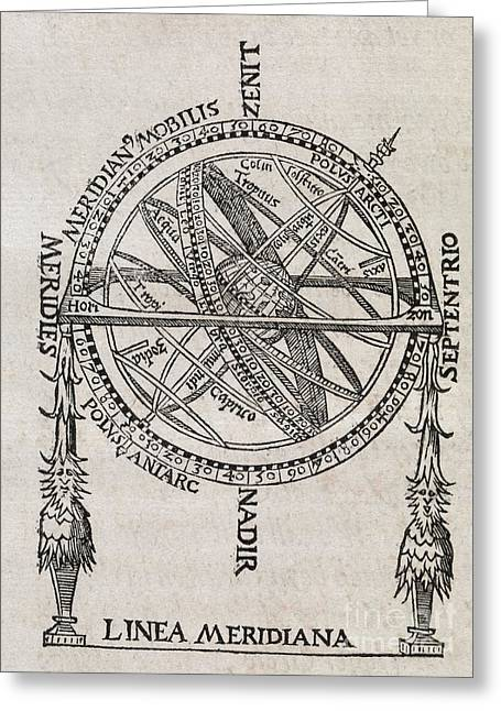 Armillary Greeting Cards - Armillary Sphere, 16th Century Artwork Greeting Card by Middle Temple Library