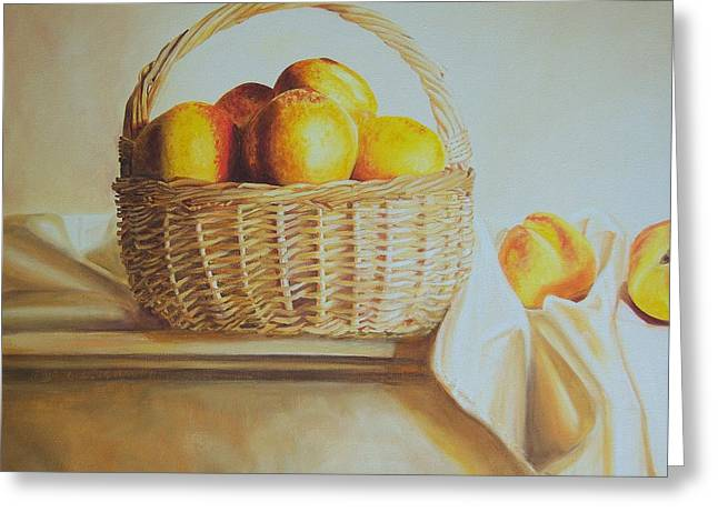 White Cloth Greeting Cards - still life print original oil painting Basket Full of Peaches Greeting Card by Diane Jorstad