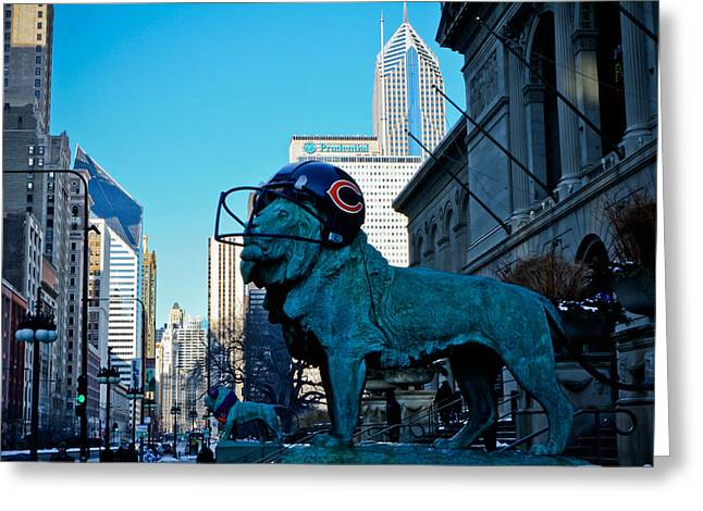 Art Institute Of Chicago Lions Greeting Card by Anthony Doudt