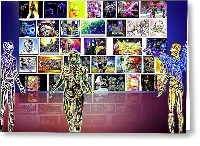 Citizens Mixed Media Greeting Cards - Art  Panorama  Greeting Card by Hartmut Jager