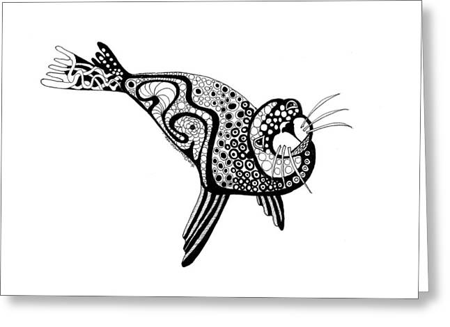 Seal Drawings Greeting Cards - Art Seal Greeting Card by Petra Stephens