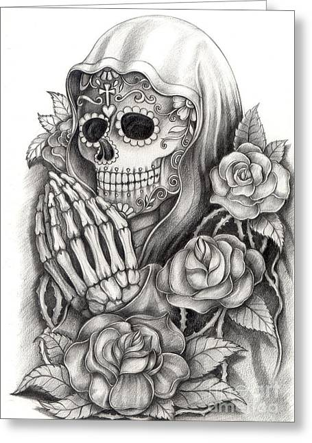 Apparel Drawings Greeting Cards - Art skull Day of the dead Greeting Card by Praphavit Premtha