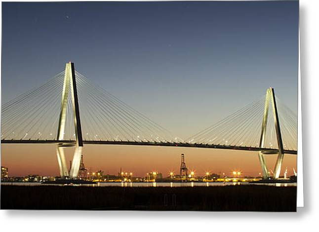 Arthur Greeting Cards - Arthur Ravenel Jr Bridge over the Cooper River Charleston SC Greeting Card by Dustin K Ryan