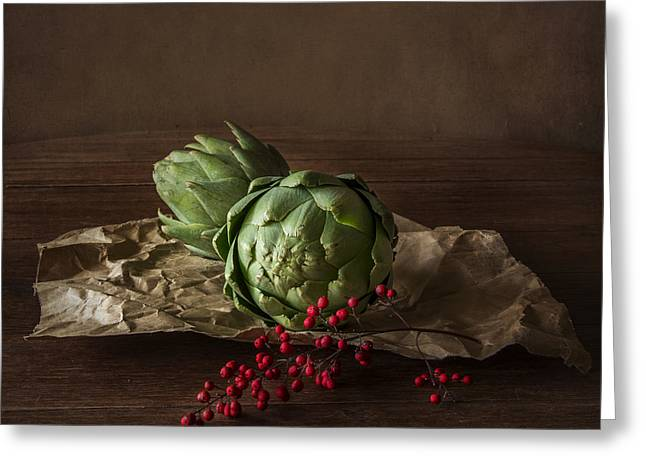 Berry Greeting Cards - Artichokes Greeting Card by Elena Nosyreva