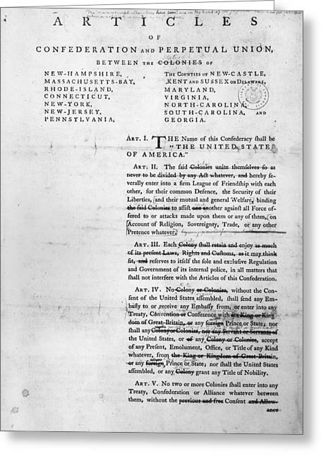Article Greeting Cards - Articles Of Confederation Greeting Card by Granger