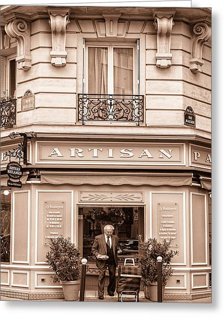 Bakery Poster Greeting Cards - Artisan Bakery in Paris Greeting Card by Nomad Art And  Design