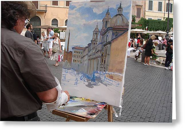 Artist At Work Greeting Cards - Artist at Work Rome Greeting Card by Ylli Haruni