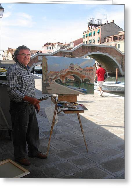 ist Photographs Greeting Cards - Artist at Work Venice Greeting Card by Ylli Haruni