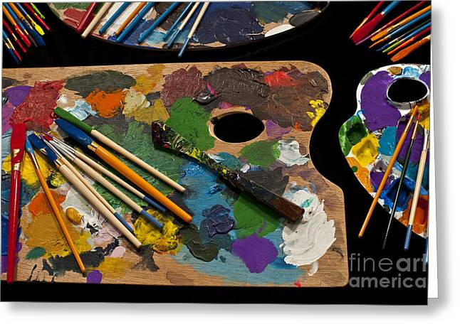 Acrylic Art Greeting Cards - Artist Palette With Brushes Greeting Card by Jim Corwin