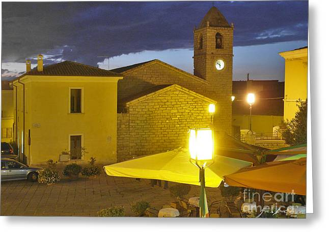 Town Square Greeting Cards - Arzachena square Risorgimento in evening Greeting Card by Giuseppe Cocco