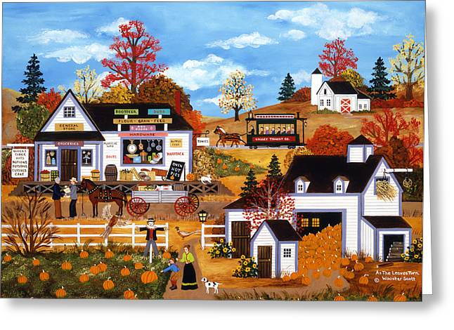 Horse And Buggy Paintings Greeting Cards - As The Leaves Turn Greeting Card by Jane Wooster Scott