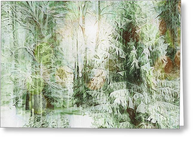 Woodland Scenes Greeting Cards - As The Sun Sets Greeting Card by Edmund Nagele