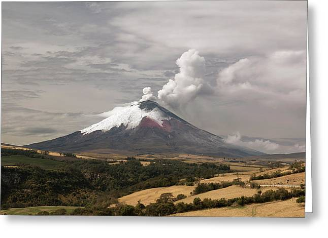 Ash Plume Rising From Cotopaxi Volcano Greeting Card by Dr Morley Read