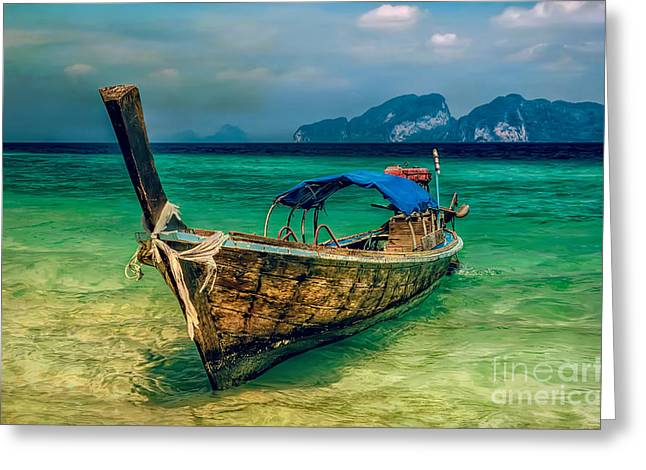 Asian Longboat Greeting Card by Adrian Evans