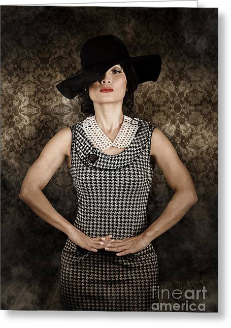 Apparel Greeting Cards - Asian model wearing vintage fashion Greeting Card by Ryan Jorgensen
