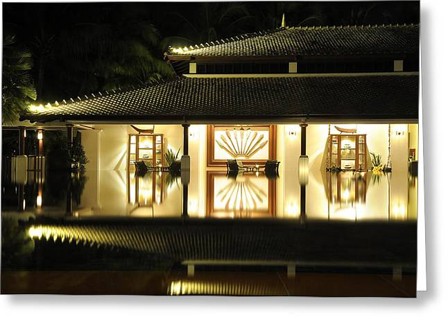 Outlook Greeting Cards - Asian waterfront home Greeting Card by PhotoArtist PhotoArtist